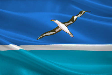 Flag of Midway Atoll island. 3d illustration