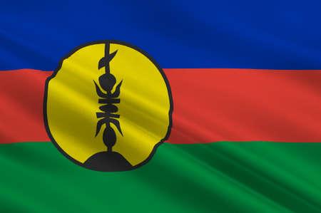 new caledonia: Flag of New Caledonia, Melanesia. 3d illustration Stock Photo