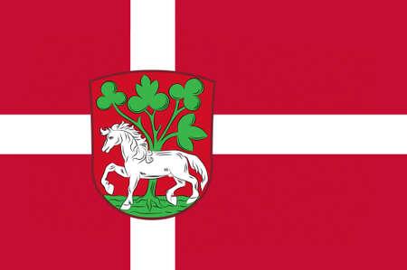 commune: Flag of Horsens in Central Jutland Region in Denmark. 3d illustration