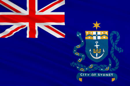 commonwealth: Flag of Sydney is the state capital of New South Wales and the most populous city in Australia and Oceania. 3d illustration