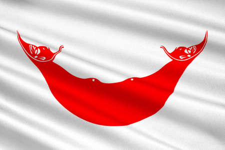rapa nui: Bandera de la isla de Pascua - Rapa Nui (Chile), Hanga Roa - Polinesia. 3d ilustración