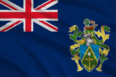 pitcairn: Flag of Pitcairn Islands, Adamstown - British Overseas Territory in the Pacific. 3d illustration Stock Photo