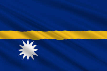 national identity: Flag of Nauru in Micronesia. 3d illustration Stock Photo
