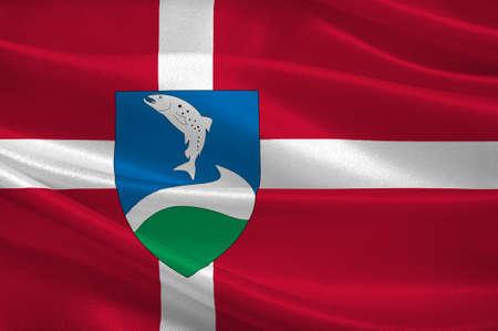 commune: Flag of Ringkobing-Skjern in Central Jutland Region in Denmark. 3d illustration