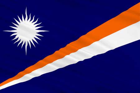 Flag of Marshall Islands, Majuro. 3d illustration