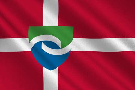 commune: Flag of Hedensted in Central Jutland Region in Denmark. 3d illustration