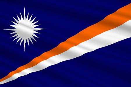 marshall: Flag of Marshall Islands, Majuro. 3d illustration