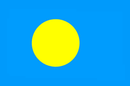Flag of Palau, Ngerulmud - Micronesia. 3d illustration Stock Photo