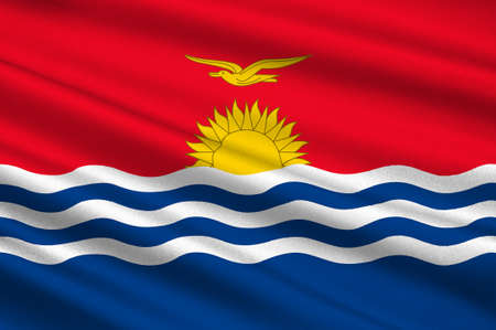 Flag of Republic of Kiribati, Micronesia. 3d illustration