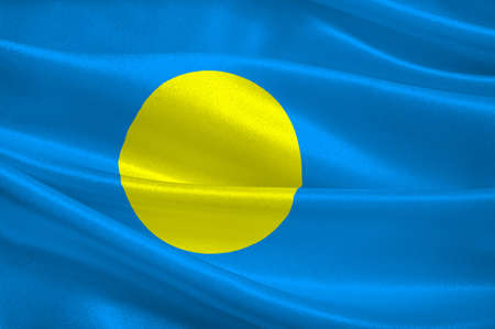 Flag of Palau, Ngerulmud - Micronesia. 3d illustration Stock Photo