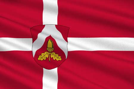 commune: Flag of Odder in Central Jutland Region in Denmark. 3d illustration