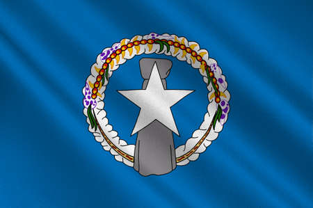 Flag of Northern Mariana Islands (USA), Saipan - Micronesia. 3d illustration