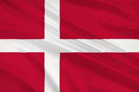 danish flag: Flag of Denmark is a Scandinavian country in Europe. 3d illustration Stock Photo
