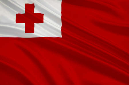 tonga: Flag of Kingdom of Tonga - Polynesia. 3d illustration