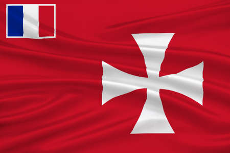 pacific ocean: Flag of Wallis island is one of the three official chiefdoms (Royaume coutumiers) of the French territory of Wallis and Futuna (the other two being Sigave and Alo) in Oceania in the South Pacific Ocean. 3d illustration Stock Photo