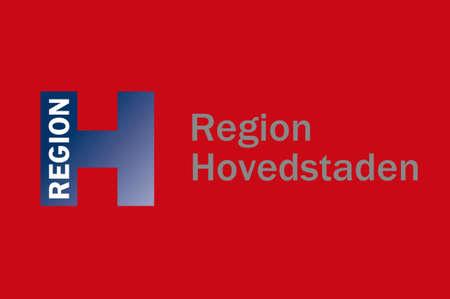 Flag of Capital Region of Denmark is the easternmost administrative region of Denmark. 3d illustration Stock Photo