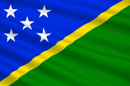 Flag of Solomon Islands, Honiara - Melanesia. 3d illustration