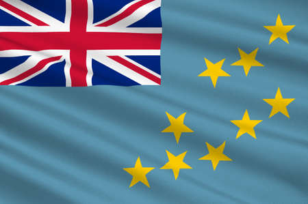 Flag of Tuvalu, Funafuti - Polynesia. 3d illustration