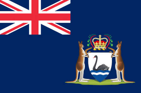 wa: Flag of Western Australia (WA) is a state occupying the entire western third of Australia. 3d illustration Stock Photo