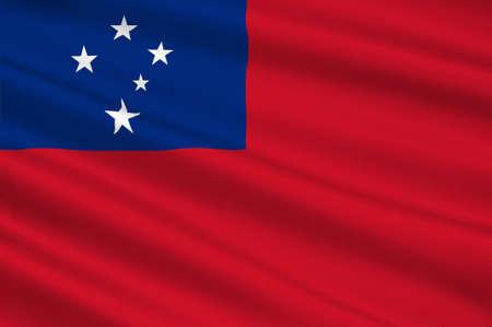 polynesia: Flag of Samoa, Apia - Polynesia. 3d illustration