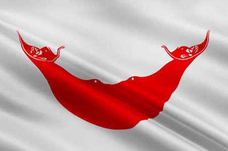Bandera de la isla de Pascua - Rapa Nui (Chile), Hanga Roa - Polinesia. 3d ilustración
