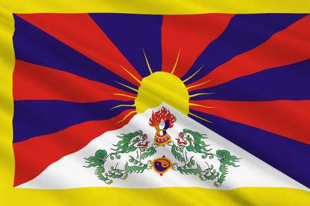 Flag of Tibet Autonomous Region (TAR) or Xizang Autonomous Region, called Tibet or Xizang for short, is a province-level autonomous region of the Peoples Republic of China (PRC). 3d illustration