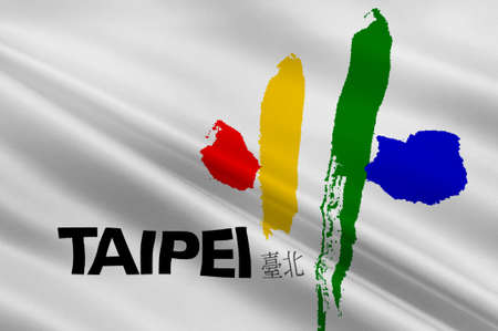 prc: Flag of Taipei - the capital of Taiwan Province in the PRC. 3d illustration Stock Photo