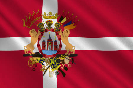 Flag of Copenhagen is the capital and most populated city of Denmark. 3d illustration