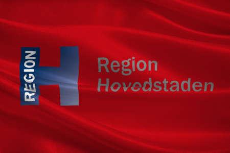 danish flag: Flag of Capital Region of Denmark is the easternmost administrative region of Denmark. 3d illustration Stock Photo