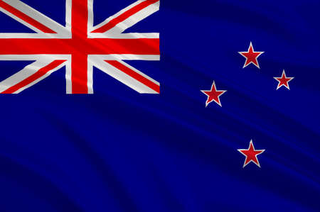 Flag of New Zealand. The Union Flag recalls New Zealands colonial ties to Britain and the stars represent the constellation of Crux, the Southern Cross. 3d illustration