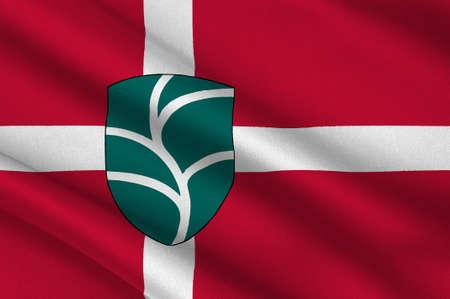 commune: Flag of Favrskov in Central Jutland Region in Denmark. 3d illustration