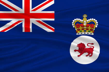 Flag of Tasmania is an island state of the Commonwealth of Australia. 3d illustration