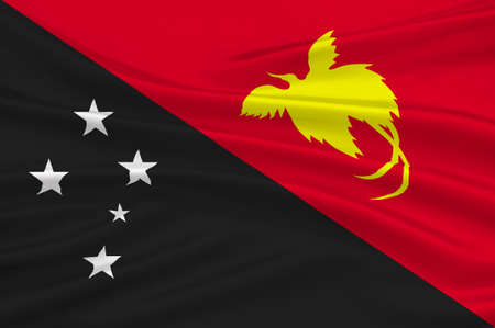 Flag of Papua - New Guinea, Port Moresby, Melanesia. 3d illustration Stock Photo