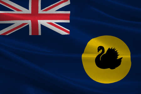 occupying: Flag of Western Australia (WA) is a state occupying the entire western third of Australia. 3d illustration Stock Photo