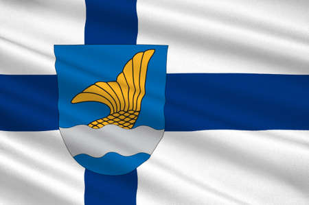 finnish: Flag Of Vantaa is a city and municipality in Finland. 3d illustration Stock Photo