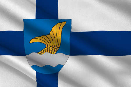 Flag Of Vantaa is a city and municipality in Finland. 3d illustration Imagens