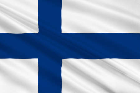 suomi: Flag of Finland is a sovereign state in Europe. 3d illustration