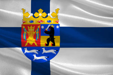 Flag of Western Finland Province of Finland. 3d illustration