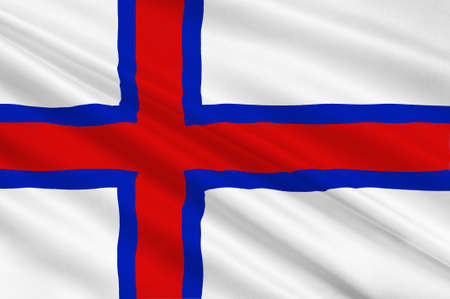 danish flag: Flag of Faroe Islands is an island country of Denmark Kingdom. 3d illustration