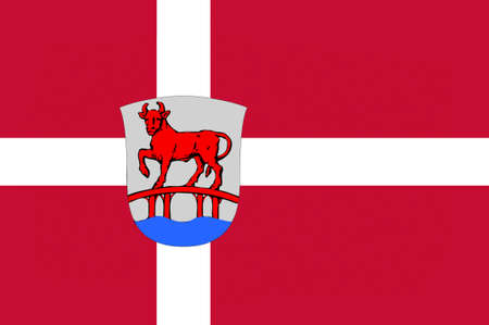 municipality: Flag of Rodovre is a municipality in Region Hovedstaden of Denmark. 3d illustration Stock Photo
