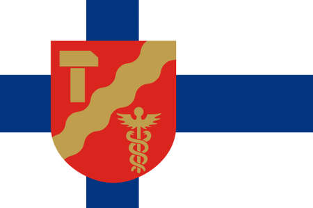 Flag Of Tampere is a city in Pirkanmaa region in Finland. 3d illustration