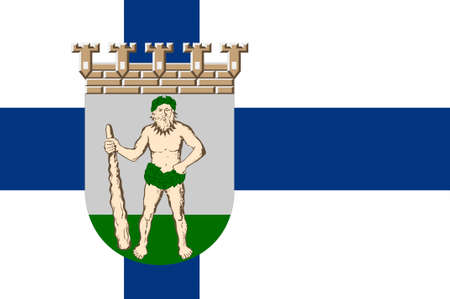 suomi: Flag Of Lappeenranta is a city and municipality in South Karelia region in Finland. 3d illustration