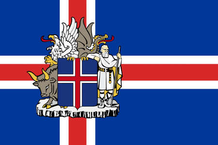 scandinavian peninsula: Flag of Republic of Iceland is a Nordic island country. 3d illustration Stock Photo