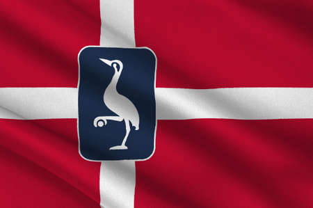 commune: Flag of Laeso is a municipality in Region Nordjylland in Denmark. 3d illustration