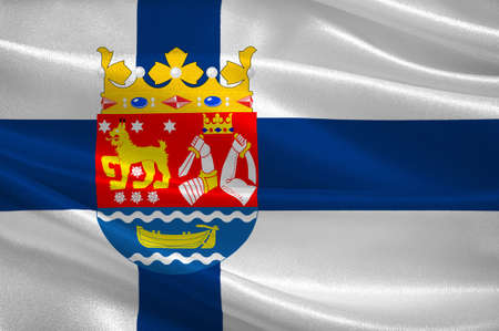 Flag of Southern Finland is a province of Finland. 3d illustration Stock Photo