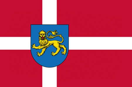 commune: Flag of Varde in Southern Denmark Region. 3d illustration