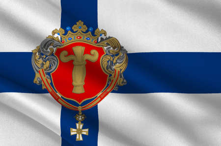 Flag Of Vaasa is a city in Ostrobothnia region in Finland. 3d illustration Stock Photo