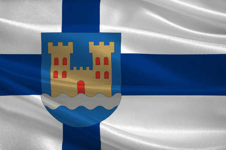 suomi: Flag Of Kajaani is a town and municipality in Finland. 3d illustration