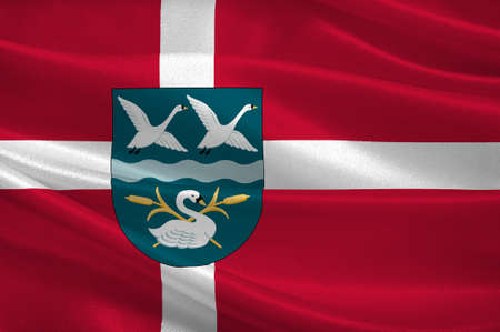 commune: Flag of Vallensbek is a municipality in Region Hovedstaden on the east coast of the island of Zealand in eastern Denmark. 3d illustration Stock Photo