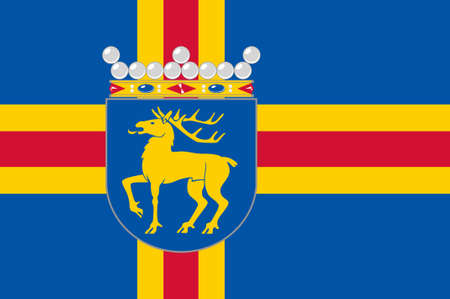 suomi: Flag Of Aland Islands is a region of Finland. 3d illustration